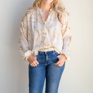 Cream and Gold Wheat Floral Blouse